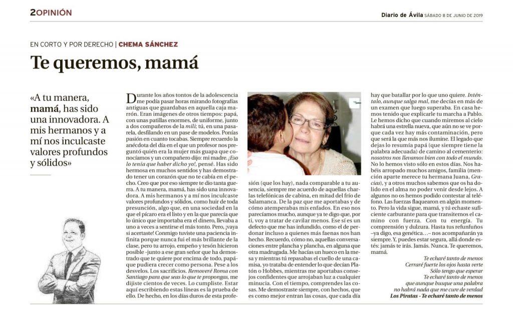 Artículo de opinión Te queremos, mamá. Publicado en Diario de Ávila 8 de junio de 2019