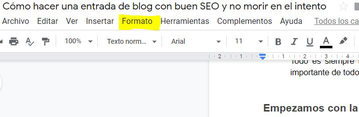Formato Google Documents
